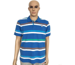 Blue Custom Mens Polo Collar Striped T Shirt pictures & photos