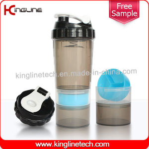 Spider Bottle 600ml Plastic Protein Shaker Bottle with Stainless Blender Spring with 2 Containers, BPA Free (KL-7005) pictures & photos