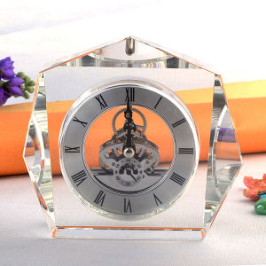 Crystal Table Souvenir Gifts Clock in Silver Movement pictures & photos