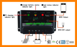 PWM 12V/24V 5A Solar Controller with USB pictures & photos