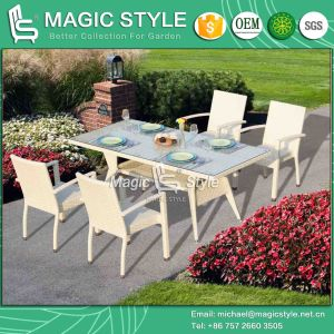 Wicker Dining Set Aluminum Chair Stackable Chair Rattan Chair Rectangle Table Dining Table Patio Furniture Outdoor Furniture Garden Furniture (Magic Style) pictures & photos