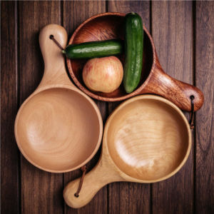 Solid Beech Wood Hand Bowl Creative Kimchi Salad Wooden Bowl Pickle Bowl pictures & photos