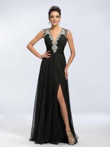 Sexy Black Chiffon Ladies/Women Party Prom Evening Dress