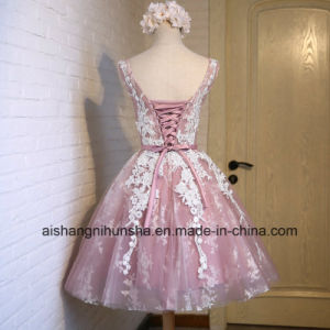 Fashion Short Pink Lace Flower Banquet Short Evening Dress pictures & photos