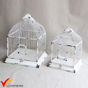Set 2 Table Centerpiece Square Shabby White Vintage Birdcage pictures & photos