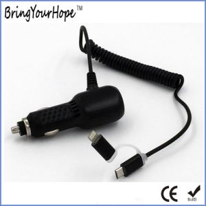 Dual Port Car USB Charger with 2in1 Cable (XH-UC-005) pictures & photos