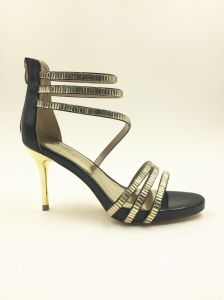 Black Leather High Heel Women Sandals pictures & photos