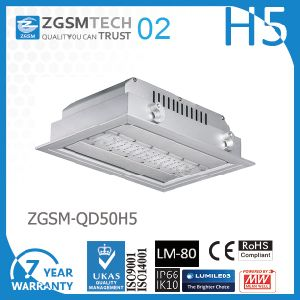 Embedded 50W LED Canopy Light 125lm W Philips SMD 3030 Chip