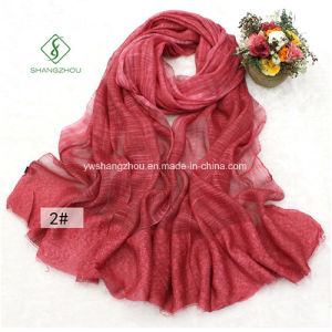 2017 High Quality Lady Fashion Scarf with Linen Tie-Dye Bamboo Shawl pictures & photos