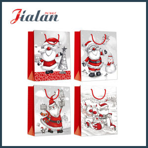 Glitter Hot Stamping Cheap Logo Printed Christmas Decoration Paper Bag pictures & photos