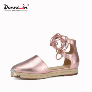Lady Metal-Toe Hollow-out Leather Lace-up Casual Women Rope Flat Sandals pictures & photos