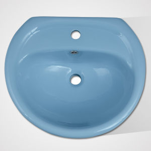 Low Cost Porcelain Colourful Shampoo Pedestal Washing Basin pictures & photos