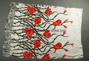 Flower Printed Machine Flat Bed Printed Acrylic Shawl (ABF22004012) pictures & photos
