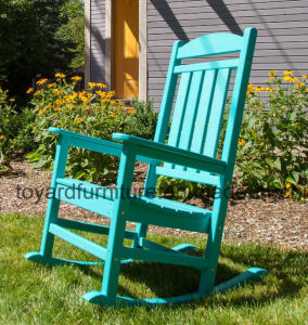 Trex Outdoor Garden Furniture Jade Blue Polywood Platform Slats Back Rocking Chair pictures & photos