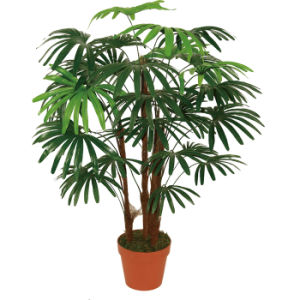 Artificial Natural Looking Five Finger Palms with Plastic Pot