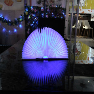 Creative Foldable Pages LED Book Shape Night Light Lighting Lamp Portable Booklight USB Rechargeable Blue