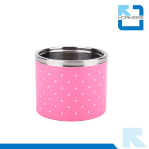 Mini Round Shape Stainless Steel and Plastic Lunchbox with Three Layer pictures & photos