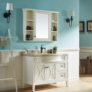 White Paint American Oak Bathroom Sanitary Cabinet (GSP14-026) pictures & photos