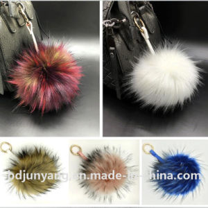 Factory Wholesale Raccoon Fur 8 Ball Pompon Keychain for Decoration pictures & photos