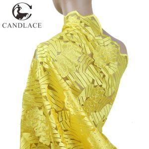 Yellow Color Soft African Lace Embroidery Fabric for Wedding Dress pictures & photos