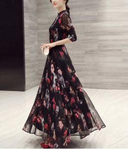 Spring Ladies Chiffon Printed Stand Collar Long Sweet Dress pictures & photos