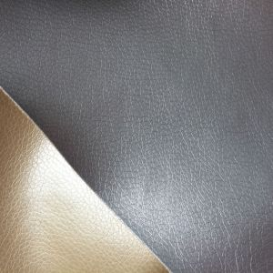 Water Proof Glossy Lychee Synthetic PU Leather for Making Sofa Hx-F1724 pictures & photos