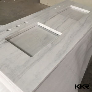 Veining Customized Solid Surface Bathroom Vanity Top for Hotel pictures & photos