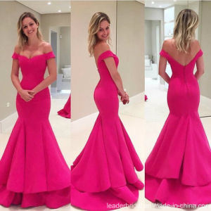 Fuchsia Bridal Prom Gown off Shoulder Mermaid Evening Dresses Wd73 pictures & photos