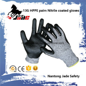 Safety Glove, 13G Hppe Safety Nitrile Smooth Coated Cut Resistant Glove Level Grade 3 pictures & photos