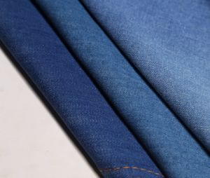 Indigo Twill Cotton Spandex Slub Mercerizing Denim Fabric; 9.7oz pictures & photos