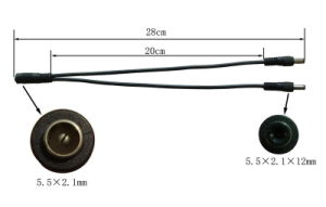 12V CCTV Male DC Power Plug Splitter Cable (SP1-2H) pictures & photos