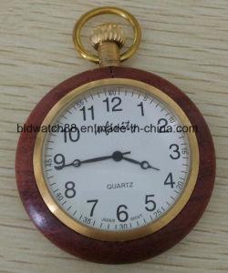 Vintage Wooden Pocket Watch with Japan Quartz Movement pictures & photos