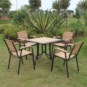 Patio Gaden Home Hotel Office Aluminum Teak Colour Polywood Table and Arm Chair (J816) pictures & photos