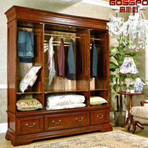 Antique Bedroom Closet Wood Cabinet Wardrobe (GSP17-014) pictures & photos