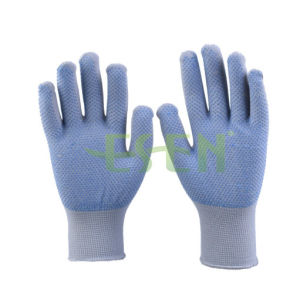 Dark Purple PVC Dotted Cotton Knitted Industrial Hand Safety Work Gloves pictures & photos