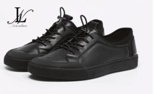 Low Top Black Leather Sports Shoes (CAS-055)