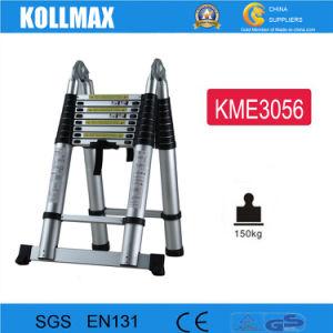 Multipurpose Telescopic Aluminum Folding Ladders with 2.8+2.8m pictures & photos