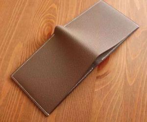 Handmade Men′s Wallet Ck18 Gray Epsom Genuine Leather