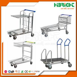 4 Wheels Warehouse Platform Cargo Transport Trolley Cart pictures & photos