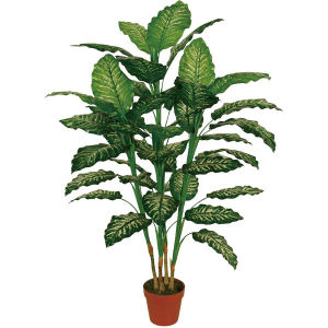 "Hot Selling Artificial Plants of 125cm Dieffenbachia with 7""Plastic Pot, 47 Lvs"