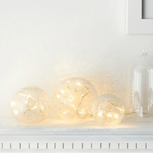 Set of 3 Battery Operated Crackled Glass Warm White Christmas LED Fairy Light Balls pictures & photos