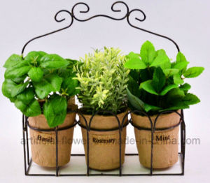 Artificial Mixed Herbs in Flax Bag/Paper Pot with Metal Stand for Home/Office Decoration pictures & photos