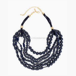 Necklaces for Women Jewelry Long Black Beaded Statement Multi Layer Necklace Gold Plated pictures & photos