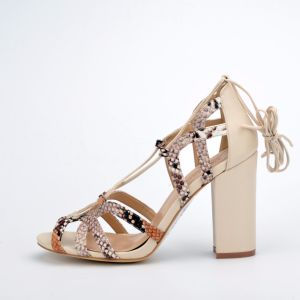 2017 Lady Casual Snake Pattern Lace-up Women High Heels Sandals pictures & photos