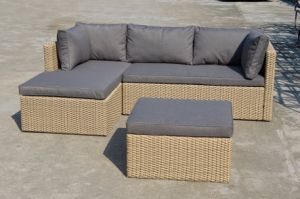 Patio Outdoor Garden Home Hotel Office Lounge Double Half Round Rattan Sofa (J713KD) pictures & photos