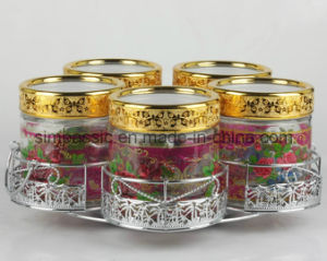 5PCS Glass Storage Jar Sets with Golded&Silver Coated Lid&Bracket (SG1512SJ) pictures & photos