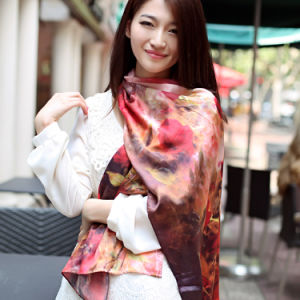 Digital Printed Silk Shawl Pure Silk Scarf (12-BR110303-4) pictures & photos