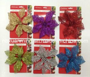 Hot Sale Artificial Glitter Flower Xm-C-1012 Christmas Ornament