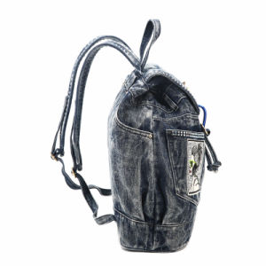 Trending Rhinestone Badges Denim Lady Backpack (MBNO040040) pictures & photos