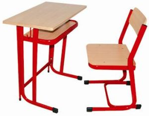 Popular Red Metal Frame Single School Desk and Chair with Wood Top pictures & photos